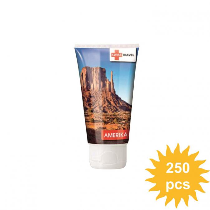 Custom imprinted sun cream tube with full colour logo all around